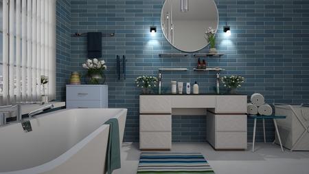 Bathroom tiling job done in Echuca with aquamarine blue wall tiles
